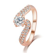 Best Quality 2Colors 2015 New Design Silver Gold Plated Zircon Crystal Wedding Rings White Crystal Jewelry For Women(China (Mainland))