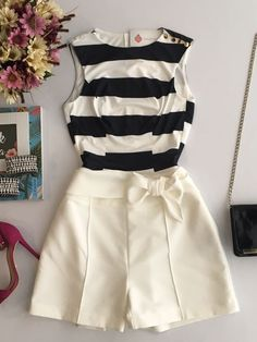 Imagem 1 Mode Outfits, Girly Outfits, Trendy Outfits, Summer Outfits, Outfit Elegantes, Look Con Short, Business Outfits, Summer Wear, Teen Fashion