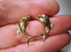Vintage 9ct Yellow Gold Dolphin with Sapphire Stud Earrings Not Scrap #Stud
