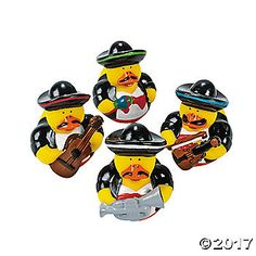 What a feathery fiesta! Host a Mexican food night or a fiesta party and use these as a fiesta rubber ducky decoration. Place these Mariachi Rubber Duckies in ...
