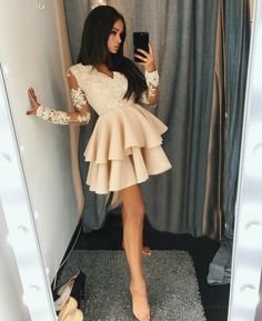 Dazzling V Neck Prom Dresses, A-Line Homecoming Dresses, Long Sleeves Prom Dresses, Prom Dresses Lace - dress Long Sleeve Homecoming Dresses, Prom Dresses With Sleeves, Grad Dresses, Sexy Dresses, Cute Dresses, Evening Dresses, Formal Dresses, Dress Prom, Dresses With Lace
