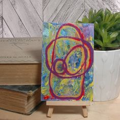 Original Art Postcard ~ Energy ~ Unique Arty Gift Idea for the Home, Intuitive Artwork, Abstract Acrylic Painting, Workspace Desk Accessory