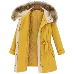Choies Yellow Elastic Waist Hooded Long Sleeve Coat (115 BAM) ❤ liked on Polyvore featuring outerwear, coats, long sleeve coat, brown coat and yellow coat