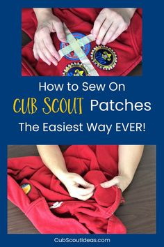 Check out the EASIEST way to hand sew Cub Scout patches and badges onto the uniforms. via Learn the easiest way ever to hand sew Cub Scout patches and badges onto uniforms. This sewing technique for attaching patches is super quick! Cub Scout Law, Cub Scouts Wolf, Beaver Scouts, Tiger Scouts, Scout Mom, Girl Scouts, Cub Scout Skits, Cub Scout Activities, Cub Scout Crafts