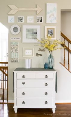 Light Gallery Wall Art - Easy watercolors and pencil drawings are used to create this personalized happily ever after gallery wall with an emphasis on family.