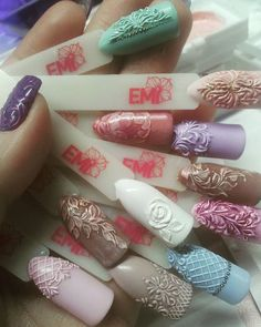 Happy Stars Shine The Brightest -{ Maybeanothername }🖤×🖤 Beautiful Nail Designs, Cool Nail Designs, 3d Nails, Cute Nails, Sculpted Gel Nails, Romantic Nails, Vintage Nails, Nails Only, Nail Candy