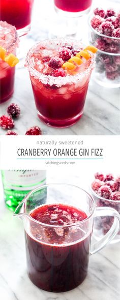 Cranberry Orange Gin Fizz is a festive cocktail filled with Holiday flavor! This easy drink recipe uses a naturally sweetened homemade cranberry sauce for a big punch of flavor. Gin Drink Recipes, Punch Recipes, Alcohol Recipes, Yummy Drinks, Cocktail Recipes, Cocktail Ideas, Drinks Alcohol, Gin Punch Recipe Easy, Alcoholic Drinks