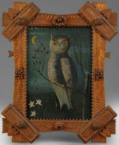 Late 18th/19th Century Folk Art Oil Painting in Tramp Art Frame sold for $2990 #OilPaintingOwl