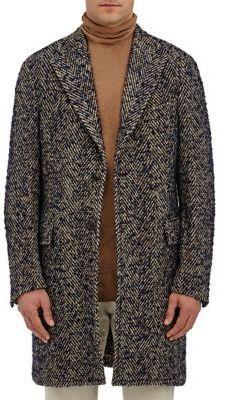 Boglioli Men's Wool-Blend Bouclé Herringbone Tweed Coat-TAN, BEIGE, NAVY