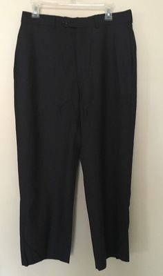 346 Brooks Brothers Stretch Black Dark Grey Wool Pants Size W 31 L 26.5 Short #346BrooksBrothers #DressFlatFront