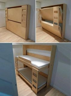 Decorate your room in a new style with murphy bed plans Murphy Bunk Beds, Modern Murphy Beds, Murphy Bed Ikea, Murphy Bed Plans, Kids Bunk Beds, Murphy Etagenbetten, Folding Furniture, Space Saving Furniture, Fold Out Beds