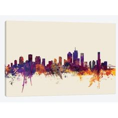 "East Urban Home 'Skyline Series: Brisbane, Australia on Beige' by Michael Tompsett Painting Print on Wrapped Canvas Size: 18"" H x 26"" W x 0.75"" D"