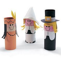 Great Thanksgiving art project! Make pilgrims and Native Americans from toilet paper rolls! After finishing students could write a story about the characters they made. :]