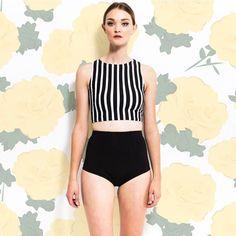 Stripe Tankini $42.50 Black Bottoms $32.50 www.kingdomandstate.com #retroswim #retroswimwear #highwaistbottoms #swimwear #retroswim