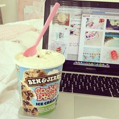 Ice Cream + Interweb + Comfy Bed..it is a dream!