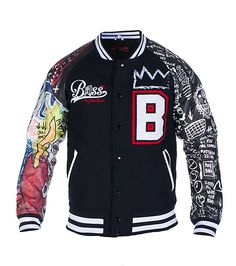 BASS BY RON BASS Varsity style jacket Leather sleeves with abstract brand print Full snap up closure. Letterman Jacket Outfit, Varsity Letterman Jackets, Bomber Jacket Men, Sweater Jacket, Tims Outfits, African Fashion Skirts, Boys Sweaters, Raw Denim, Designer Clothes For Men