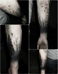 def next tattoo on my left outer forearm, BUT only with tall skinny pine tree sillouettes....STOKED.