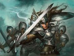 When the knights descended to the battlefield, bodies were rent asunder by a single blow of their swords, and bones were shattered by the fierce war cries of the newly empowered female warriors of Beldereth army. No sword, arrow or battleaxe could touch Bremusa's warriors. They were as swift and shifting as the wind itself. [Fate's Fables excerpt. traemitchell.com] Art by Greg Staples