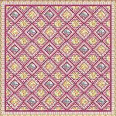 Dreamy Lattice Quilt-By: Patricia Bravo for Art Gallery Fabrics Quilt Size: 80 inches wide x 80 inches long-Primary- Technique: Pieced    Difficulty Level: Easy