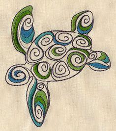 Doodle Sea Turtle design (UT3252) from UrbanThreads.com