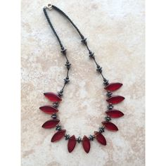 Choker, Boho Red Glass Stone Necklace, Colorful Necklace, Rustic... (39 BGN) ❤ liked on Polyvore featuring jewelry and necklaces