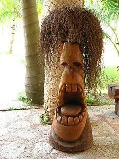 The Worlds Most Visited Video Chat – woodworkingstatue Tree Carving, Wood Carving Art, Wood Art, Art Surf, Tiki Pole, Tiki Man, Tiki Tiki, Tiki Faces, Tiki Statues