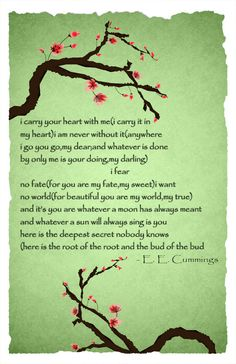 EE CUMMINGS 'I Carry Your Heart With Me' Poem Poster  by BCCreate, $15.00