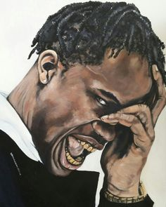 """Travis Scott"" Acryllic and charcoal on canvas"