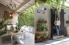 Una casa con estilo personal  La galería del frente tiene una mesa reciclada, sillas de PVC (CDI) y un modelo 'Panton mini'.  /Pompi Gutnisky