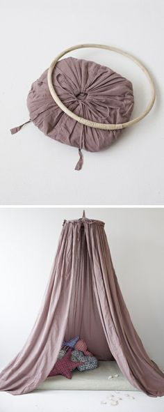 DIY: Hideout canopy one for each girl! Over bed! In matching room fabric..