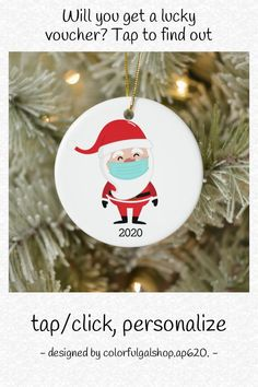 Funny Santa Claus Wearing Facemask 2020 Christmas Ceramic Ornament - tap, personalize, buy right now! #CeramicOrnament #christmas, #santa #claus, #funny, #wearing Funny Christmas Ornaments, Christmas Humor, Christmas Tree, Tree Designs, Thank You Cards, Red And White, How To Find Out, Santa, Ceramics