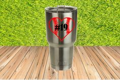 Baseball Softball Heart Yeti Cup Decal! Decal with player number! by RedandthePug on Etsy