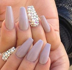 Pretty nails with a bit of bling mixed in! <3 it!