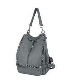 f19933fdca Women Backpack Purse PU Washed Leather Rivet Studded Convertible Ladies  Rucksack Shoulder Bag - Grey - C2182TILGD5