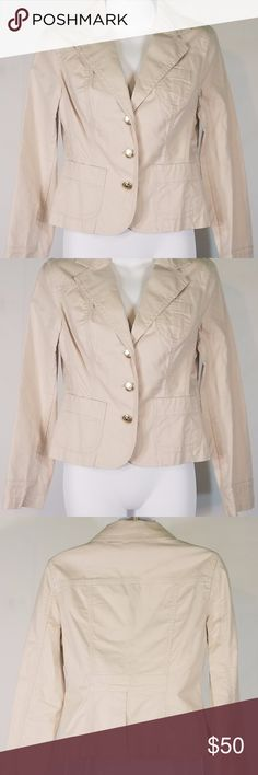 "Beige Khaki Preppy Chick blazer jacket size 4 -Item: ivory/beige fitted, blazer-style jacket  -Brand: Tommy Hilfiger -Special Details/Notes: ""Preppy Chick"". military style fit,  vent/slit in the back. beautiful gold buttons down the front, lovely plaid lining on the inner side of the back! MSRP $89.00 -Size 4 Stretch  -Condition: brand new with tags -Measurements available upon request. Tommy Hilfiger Jackets & Coats Blazers"