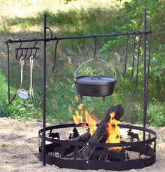 Campfire Ring Outdoor Cookset Camping Hunting BBQ Grilling Accessories Equipment