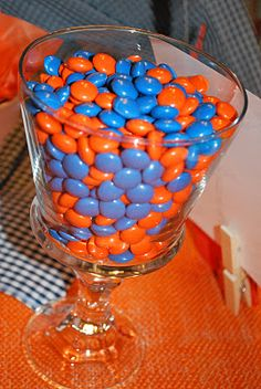 Orange & Blue m's for tailgate birthday party