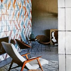 Stunning mid century eclectic style in Sicily with a combination of bold forms colour and and pattern cool vintage wicker chairs by Gordon Guillaume . Australia 2017, Vogue Living, Wicker Chairs, Eclectic Style, Sicily, Original Image, Ferrari, Mid Century, Colour