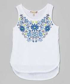 Loving this White & Blue Embroidered Tank on #zulily! #zulilyfinds
