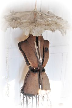 rustic dress form with fantastic parisol