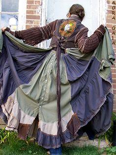 AuraGaia Arianrhod~ Poorgirl Long Duster Dress Layering Jacket Coat Upcycled S-L