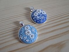blue polymer clay pendants