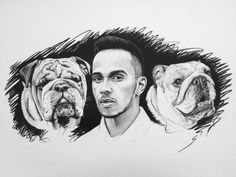 Portrait of British Formula One racing driver Lewis Hamilton with his Bulldogs Roscoe & Coco pencil sketch 50 x 70 cm Hamilton Tattoos, Lewis Hamilton Formula 1, Formula One, Bulldogs, F1, British, Sketch, Pencil, Racing