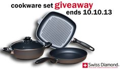 Enter the #SwissDiamond cookware giveaway for a chance to win this 4-Piece Set valued at $339.95! --> http://swissdiamond.us/4-piece-set-fry-pan-casserole-and-grill-pan.html