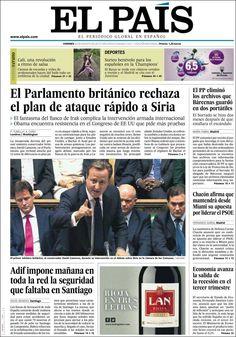 Los Titulares y Portadas de Noticias Destacadas Españolas del 30 de Agosto de 2013 del Diario El País ¿Que le pareció esta Portada de este Diario Español?