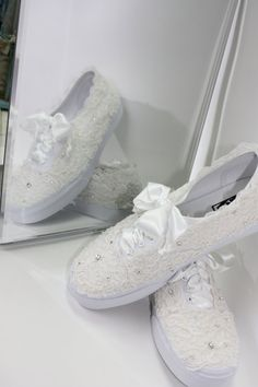 Wedding Vans Lace Vans Bridal Tennis Shoes Lace by Parisxox
