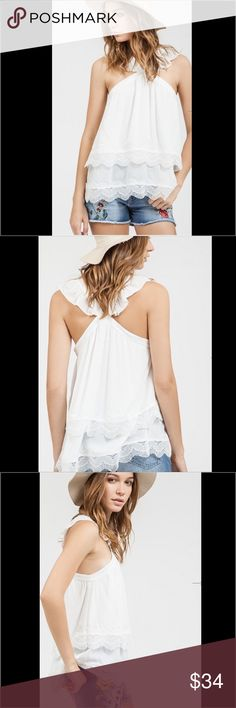 Holly Haltered Neck Layered Top 💕 Available Soon! Super cute Holly Halter Top. Cross Back. Layered Detail. Sizes Small, Medium, & Large. Will hold: comment size & we'll tag when available.  ______________________________________  [Trindy Clozet Boutique Policies]  ✅ Next Business Day Shipping (possibly same day) ✅ Retail prices are firm unless bundled.  ✅ No trades.  Find more styles on our website@  Spreesy.com/trindyclozet  Insta trindy_clozet FB TrindyClozet Twitter trindyclozet Tops…