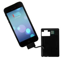 iPhone 5 Credit Card Power Bank.    This compact credit card size, ultra slim power bank will easily fit into a wallet and provides power on the go for an iPhone 5S, iPhone 5C or iPhone 5. It will provide up to 3 hours standby time depending on the model and usage of the device. It can also be used to transfer data between the phone and PC, while the LED torch is a great safety feature.