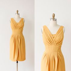 Goldenrod Yellow Ruched Vintage Wiggle Dress by salvagelife, $178.00