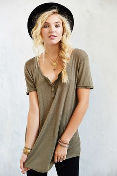 Truly Madly Deeply Henley Tunic Top - Urban Outfitters